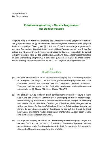 Entwässerungssatzung – Niederschlagswasser der Stadt Eberswalde