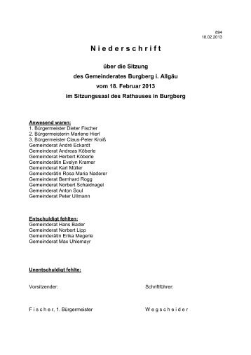 18.02.2013 Niederschrift Gemeinderat - Burgberg