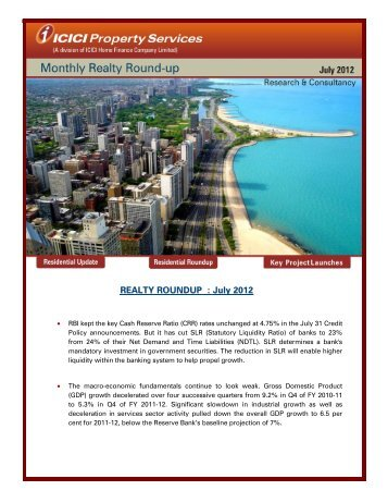 REALTY ROUNDUP : July 2012 - ICICI Home Finance