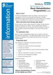 Back Rehabilitation - ICID - Salisbury NHS Foundation Trust