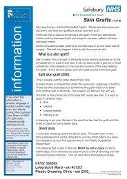Skin Grafts - ICID - Salisbury NHS Foundation Trust