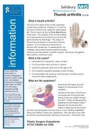 Thumb arthritis - ICID - Salisbury NHS Foundation Trust