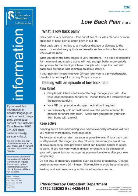 low back pain PI0806 - ICID - Salisbury NHS Foundation Trust