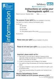 Thermoplastic Splint - ICID - Salisbury NHS Foundation Trust