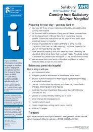 Coming into hospital - ICID - Salisbury NHS Foundation Trust