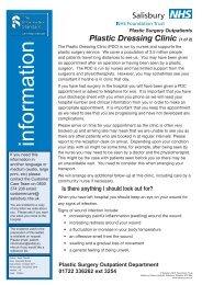 Plastic Dressing Clinic (1 of 2) - ICID - Salisbury NHS Foundation Trust