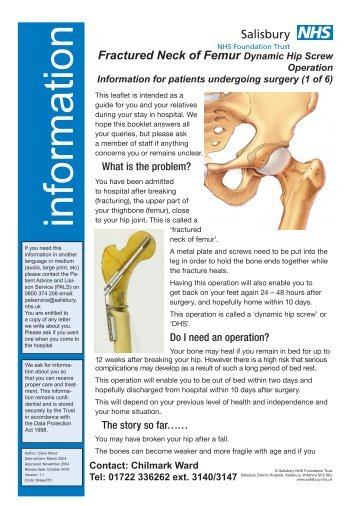 Dynamic Hip Screw Operation - ICID - Salisbury NHS Foundation Trust