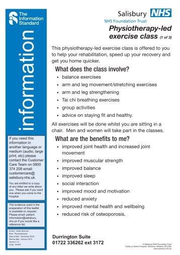 Physiotherapy-led exercise class - ICID - Salisbury NHS Foundation ...