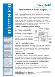 Percutaneous Liver Biopsy - ICID - Salisbury NHS Foundation Trust