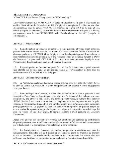 Rãˆglement Du Concours âœconcours Vãlo Paris Xl