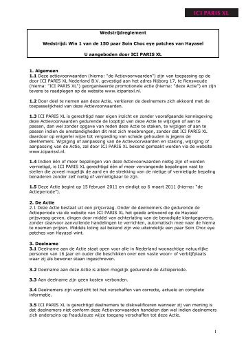 Wedstrijdreglement Wedstrijd: Win 1 van de 150 paar ... - Paris XL