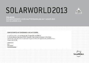 Dokumente - SolarWorld AG