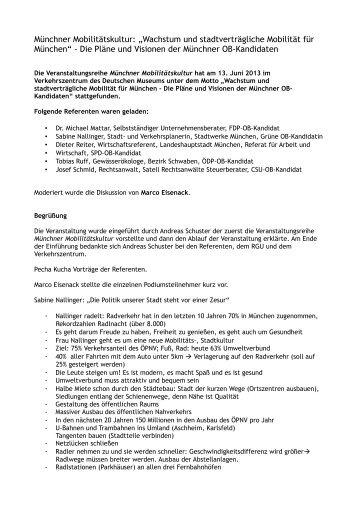 Pläne und Visionen der Münchner OB-Kandidaten ... - Green City eV