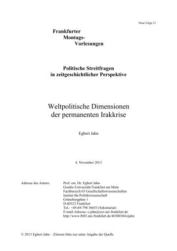 Weltpolitische Dimensionen der permanenten Irakkrise - Goethe ...