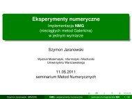 Eksperymenty numeryczne - Implementacja NMG (nieciagłych ... - ICM