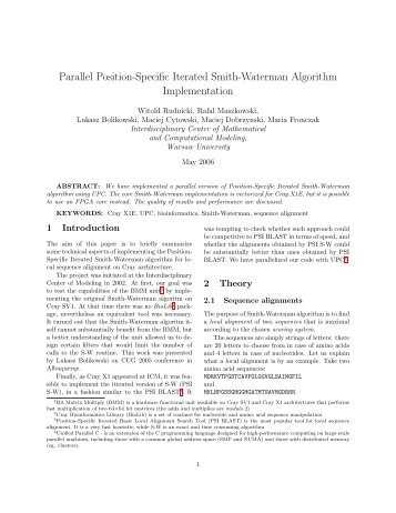 Parallel Position-Specific Iterated Smith-Waterman Algorithm ... - ICM