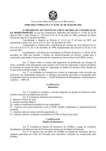 Portaria Normativa nº 42, de 28/05/10 - ICMBio