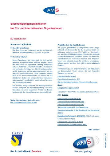 Stellen bei EU-Institutionen