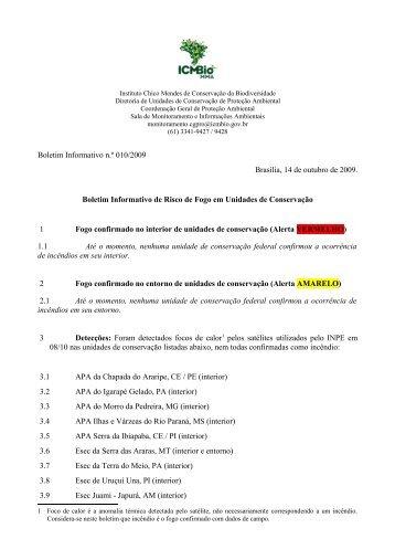 Boletim Informativo de Risco de Fogo em UCs - ICMBio