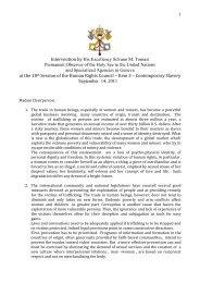 Holy see statement of human trafficking - ICMC