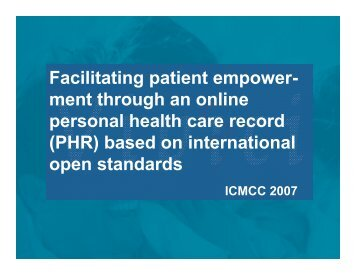 (PHR) based on international open standards - ICMCC