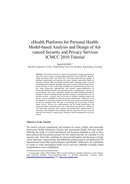 eHealth Platforms for Personal Health: Model-based ... - ICMCC