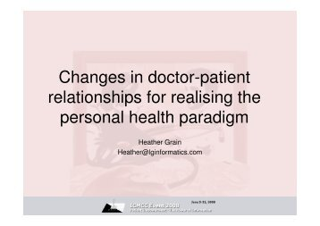 Changes in doctor-patient relationships for realising the ... - ICMCC