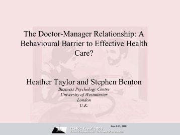 Heather Taylor and Stephen Benton - ICMCC