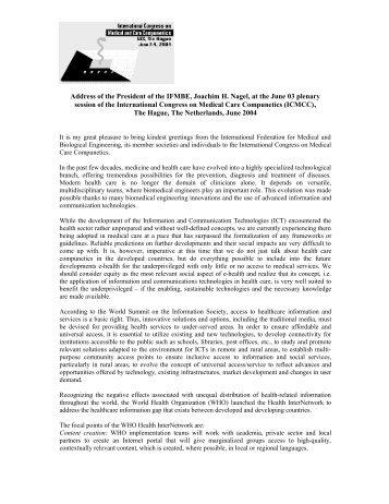 Address of the President of the IFMBE, Joachim H. Nagel ... - ICMCC