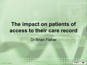 The impact on patients of access to their care record - ICMCC