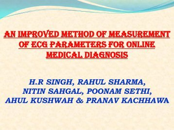 an improved method of measurement of ecg parameters for ... - ICMCC