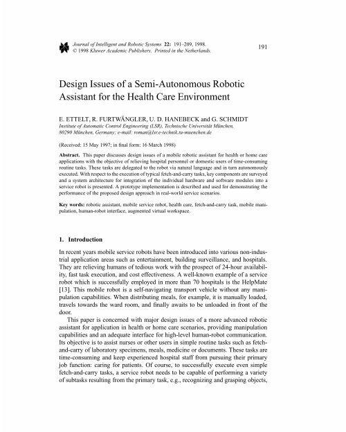 Design Issues of a Semi-Autonomous Robotic Assistant for ... - ICMCC