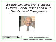 Swamy Laxminarayan's Legacy in Ethics, Social Issues ... - ICMCC