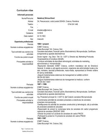 Curriculum vitae - ICMET