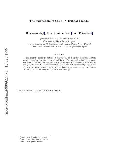 Hubbard model', B. Valenzuela, M.A.H. Vozmediano, cond-mat ...