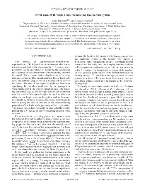 Direct current through a superconducting two-barrier system