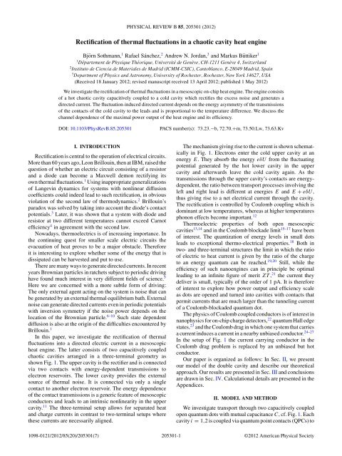 Rectification of thermal fluctuations in a chaotic cavity heat engine