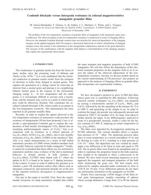 USING STANDARD SYSTE - Materials Science Institute of Madrid