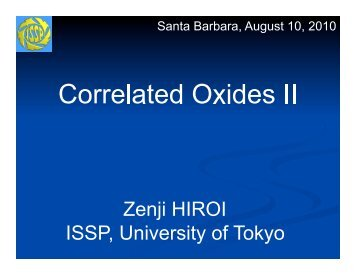 Correlated Oxides II