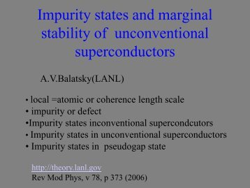 Impurity states and marginal stability of unconventional ...