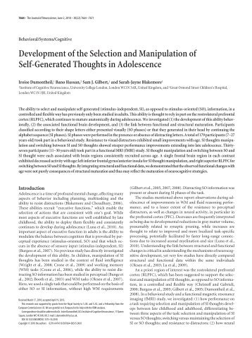 Article In Press Institute Of Cognitive Neuroscience Ucl