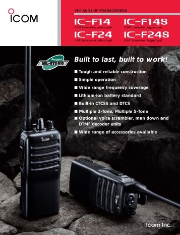 Built to last, built to work! - ICOM Canada