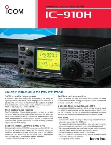 The New Dimension in the VHF/UHF World! - ICOM Canada