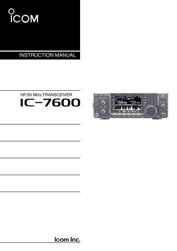 IC-7600 Instruction Manual - ICOM Canada