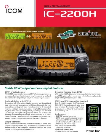 Stable 65W* output and new digital features - ICOM Canada