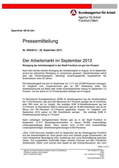 Rückgang der Arbeitslosigkeit in der Stadt Frankfurt um gut vier ...