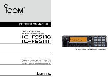 IC-F9511S/T Instruction Manual - ICOM Canada