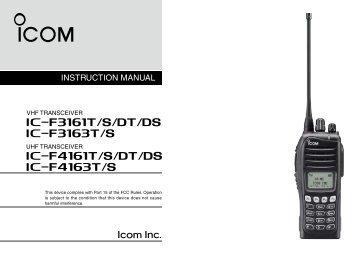 IC-F3161T/S/DT/DS_F3163T/S_F4161T/S/DT ... - ICOM Canada