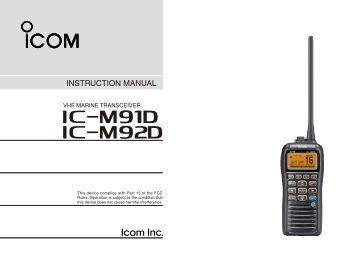 IC-M91D/M92D Instruction Manual - ICOM Canada