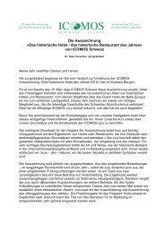 Reden zur Preisverleihung - ICOMOS Schweiz